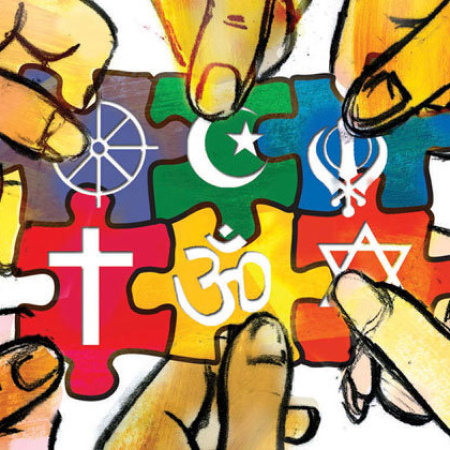 300 dpi SW Parra color illustration of many hands connecting together puzzle pieces, each with a different religious symbol. The Fresno Bee 2009<p>  religious tolerance illustration interfaith diversity symbol symbols puzzle pieces hands working together team global belief god cross om shanti islam judaism; krtfeatures features; krtnational national; krtreligion religion; krtworld world; krt; mctillustration; belief; faith; values value; REL; 12000000; 12002000; 12006000; 2009; krt2009; parra fr contributed coddington mct mct2009 2009
